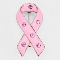 Crystal Accented Enamel Pink Ribbon Brooch