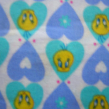 2 yards Tweety Bird Cotton Fabric by Cranston Village - Yellow, Blue, Aqua Colors -  Perfect for Crafting or Quilting - Child, Baby Fabric