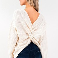 Ivory Knit Twist Knotted Back Sweater