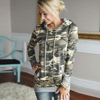 Fashion Camo Print Autumn Winter Jumper Pocket Women Long Sleeve Top Hoodies Sweatshirts Hooded Outerwear Coat