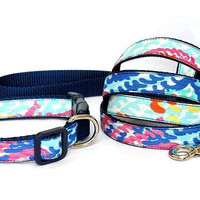 Dog Collar and Leash Set Made from Lilly Pulitzer Fall 2014 Cameo White Electric Feel Fabric on Navy Size: Your Choice