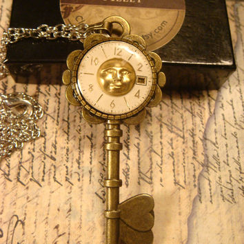 Man on the Moon Face with Upcycled Watch Face Steampunk Key Pendant Necklace (1621)