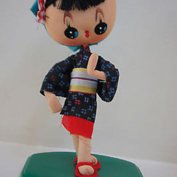"Rare Geisha Doll 8"" Tall Vintage 1960 Poseable Big Eyes Cloth Doll Made in Japan"