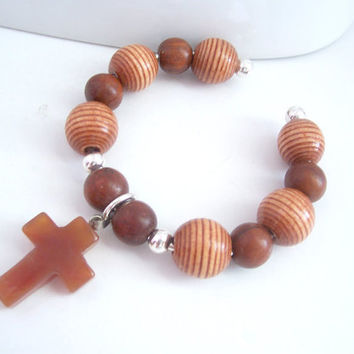 Cuff Bracelet, Brown Bracelet, Cross Jewelry, Christian Bracelet, Red Agate Cross Pendant