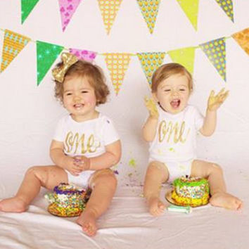 First Birthday One Gold Glitter Bodysuit - Ann Marie Avenue - Sparkle or Matte 1st Birthday - Cake Smash Bodysuit - Photo Prop