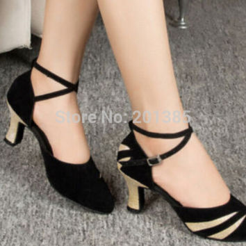 New Black  Suede Closed Toe Ballroom Salsa Latin Waltz Smooth Dancing Dance Shoes Tango Dance Shoes Salsa Dance Shoes
