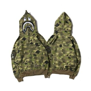 VXL8HQ BAPE SHARK Fashion Casual Long Sleeve Sweater Zipper Hoodie