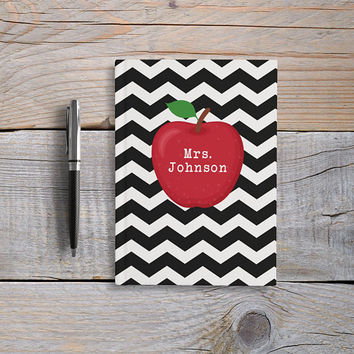 Personalized Teacher Journal, Custom Name Journal, Writing Journal, Hardcover Notebook, Apple, Blank or Lined, Custom Teacher Gift