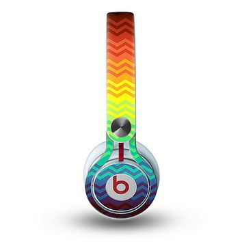 The Rainbow Thin Lined Chevron Pattern Skin for the Beats by Dre Mixr Headphones