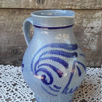 MAJOLICA PITCHER, Stoneware Pottery, Earthenware, Brilliant Blue, Marked on the bottom 3061 - M over R, Colonial, Primitive, 7 1/2""