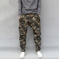 Plus Size S-7XL Mens Stretch Harem Pants Army Camouflage Hanging Crotch Jogger Pants Trousers Drop Crotch Cross Pants 2188