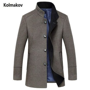 KOLMAKOV 2017 new winter high quality Men's business casual stand collar trench coat,fashion 50% Woolen windbreaker jacket coats