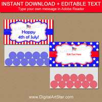 4th of July Treat Bag Toppers - Printable Goodie Bag Topper Template - July 4th Bag Labels Fourth of July Party Favors Military Care Package