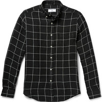 AMI - Button-Down Collar Checked Linen Shirt | MR PORTER
