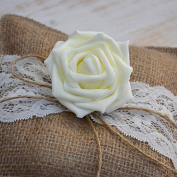 Wedding Ring Pillow Rustic Ring Bearer Burlap Ring Holder Shabby Shic Rose Ring Pillow with Burlap Lace Ivory Rose