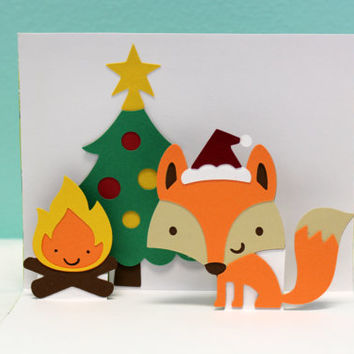 Pop Up Christmas Card - Fox Christmas Card - Be Merry