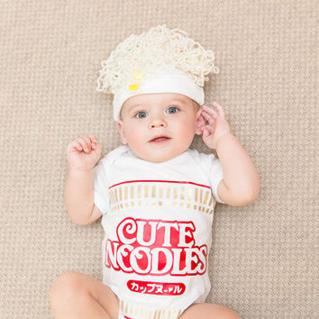 Ramen Baby Onesuit and Hat - Baby Gift Bodysuit - Baby Christmas Gift - Funny New Parents Gift - Unique Baby Shower Gift