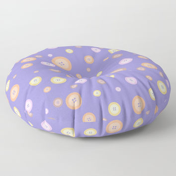 Multicolor buttons pattern. Lilac Floor Pillow by ArtGenerations