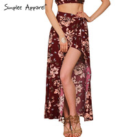 Simplee Apparel floral print women bohemian split long skirt Summer sexy girls 90's high waist casual loose maxi skirts female