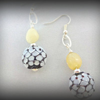 Blue and Yellow Earrings, Flower Lampwork Focal Beads, Yellow Jade Jewelry,