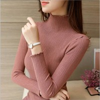 DXHKDYZ 2017 new winter women's cotton sweater female fashion color collocation sweater slim shirt Knit shirt