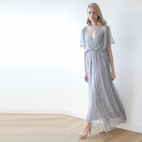 Maxi grey lace dress, Vintage style maxi gown with bat sleeves, Bridesmaids maxi grey lace dress , Batwings maxi dress