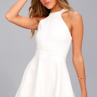 Hometown Girl White Lace Skater Dress