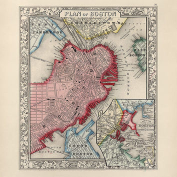 Antique Map of Boston, Massachusetts (1863) - Archival Reproduction