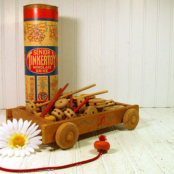Vintage Wooden Senior TinkerToy Windlass Drive Collection with Wagon - Retro 70 Pieces Toy - Charming Chippy Paint Nursery Decor