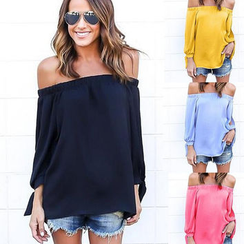 Slash Neck Long Sleeve Chiffon T-Shirt