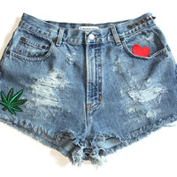 Marijuana Patch High Waisted Vintage Shorts