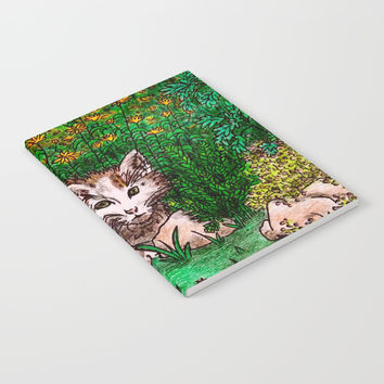 Cat in Flower Garden Notebook by GittaG74