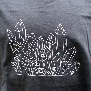 Quartz Crystal Point Cluster T-Shirt Charcoal Grey Gray Handmade Original Mineral Specimen Kynd Valley