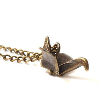 Origami Crane Necklace Folded Metal World Peace Sign Anti War Bird NM08 Charm Pendant Fashion Jewelry