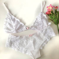 Delicate lace lingerie set with polkadot detailing