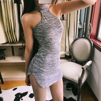 Fshion Solid Irregular Halter Tight Mini Dress