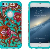 "iPhone 6, DandyCase 2in1 Hybrid High Impact Hard Vintage Floral Pattern + Teal Silicone Case Cover for Apple iPhone 6 (4.7"" screen) + DandyCase Screen Cleaner"