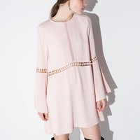 Peach Bell Sleeve Dress