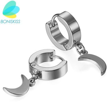 Boniskiss Brand New Unique Fashion Rock Moon Charm Men Earrings Silver/Gold/Black Small Circle Hoop Earrings For Women Jewelry