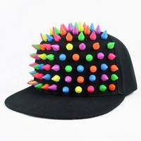 LOCOMO Men Women Punk Rock Hip Hop Candy Rainbow Multi Color Hedgehog Plastic Rivet Stud Spike Spiky Hat Cap Baseball FFH023 Black
