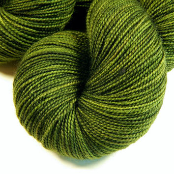 Hand Dyed Yarn - Sock Weight Superwash Merino Wool Yarn - Moss Tonal - Knitting Yarn, Sock Yarn, Green, Olive, Wool Yarn