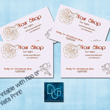 Printable Business Card    Romantic Templates   Simply Roses