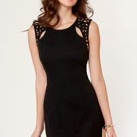 Star Command Studded Black Dress
