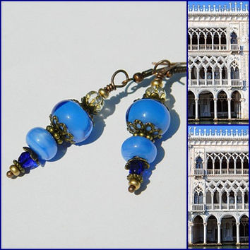 Ca'd'Oro lampwork earrings, lampwork dangles, blue earrings, glass earrings, blue lampwork earrings