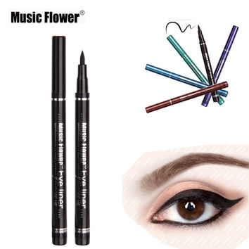 Music Flower 1pcs Long Lasting Waterproof colorful Liquid Eyeliner Not Dizzy Eye Liner Pencil Sexy Eye Beauty Smooth Eye Liner
