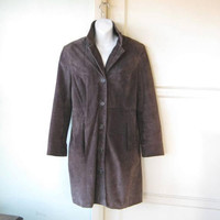 Distressed Brown Suede Coat; Classic Knee-Length Women's Small-Medium Petite Coat; Warm/Urban/Classic Lined Suede Coat with Pockets