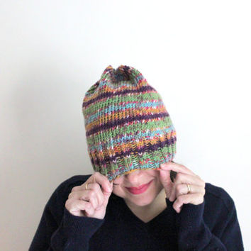 Colorful Boho Knit Beanie, Knit Hat, Summer Beanie, Multicolor Slouchy Knit Beanie, Fair Isle Hat, Boho and Hippie Accessories, Purple Hat