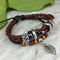 Handmade Leather Bracelet-Leaf on Luulla