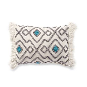 Anthology™ Kiran Embroidered Oblong Throw Pillow in Grey