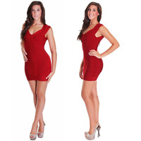 Fabulous! Sexy Red Short  Sleeves Lux Bandage Dress, BCBG herve leger  style, Hollywood inspired, Wedding Party Dress